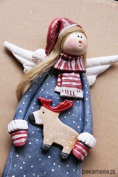 Salt dough by Paulina Silarow/ OGdesign anioły i figurki-Świateczny Anioł no.7 -  Boże Narodzenie