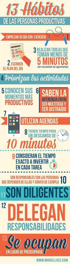 Infografía: 13 hábitos de las personas productivas.http://www.publicacionesmihuellaes.com/13-habitos-de-la-gente-productiva/