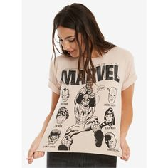 Marvel Spider-Man & Friends Womens Cropped Tee ($29) ❤ liked on Polyvore featuring tops, t-shirts, marvel top, pink crop top, pink tee, crop t shirt and marvel t shirts