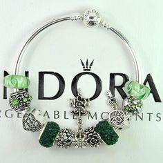 Authentic pandora silver charm bangle bracelet with european charm beads nurse #Pandoralobsterbangleclaspclaw #European