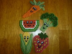 Vegetable Food Magnets Set Five 5 Five Refrigerator Fridge Veggies Plastic Canvas by CanuelCreations on Etsy https://www.etsy.com/listing/180316628/vegetable-food-magnets-set-five-5-five