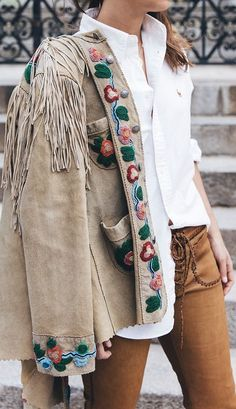 Embroidered Fringe Suede Jacket by Collage Vintage