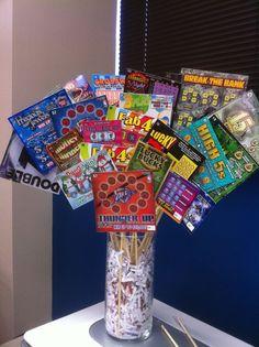 Scratcher ticket auction basket and/or piñata filler Fundraiser Baskets, Raffle Baskets, Gift Baskets, Diy Christmas Gifts For Boyfriend, Boyfriend Gifts, Christmas Diy, Craft Gifts, Diy Gifts, Golf Gifts