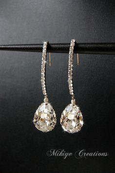 Bridal Earrings, Wedding Accessories, Wedding Chandelier Swarovski Crystal Cubic Zirconia Drop Earrings, Wedding Jewelry  - Decadence. $42.00, via Etsy.