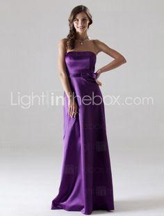 Sheath/ Column Strapless Floor-length Elastic Woven Satin Bridesmaid/ Wedding Party Dress $96.00