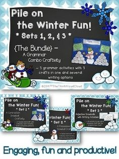 Pile on the Winter Fun! Sets 1, 2 and 3 ~ Bundled {Snowman and snowball crafts with a literacy twist!} The bundle is made up of the following sets: Set 1 ~ Contraction Snowball Craftivity, Set 2 ~ Possessive Noun Snowball Craftivity, Set 3 ~ Adjective Snowballs with Two Writing Activities ~ Descriptive and Informative. The mini-pack, FREEBIE Pile on the Winter Fun!, includes 8 sample pages for you to preview. Grades 1-3 (4th?)  $ #TeachersPayTeachers   #TPT  #CraftsWithLiteracy #ELA   #Grammar