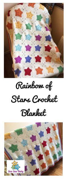 Rainbow of Stars Blanket Crochet Pattern pdf