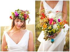 Love the summer bright colours in this bouquet, the head dress is lovely too but perhaps too much for me