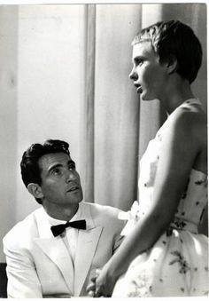 Jean Seberg and Walter Chiari on the set of Bonjour Tristesse
