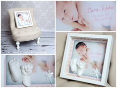 Baby newborn 3d casts in a white frame / shadow box - beautyful keepsake! by Julia Schulze - www.babybauch-abdruecke.de