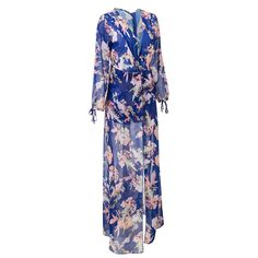 Bodycon4U Women's Summer Floral Print Plunging V Neck Long Tail Romper Maxi Dress at Amazon Women's Clothing store: