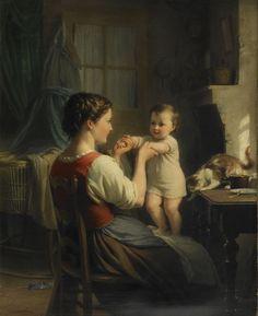 Fritz Zuber-Bühler - Bébé debout sur les genoux de sa mère