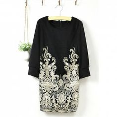 $11.70 Western Style Golden Lace Embroidery Embellished Half Sleeve Spring Dress For Women