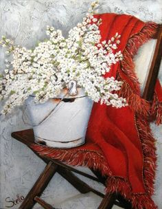 Stella Bruwer white enamel bucket with white lilacs on red throw on wooden camp chair Vintage Diy, Love Painting, Painting On Wood, Stella Art, Farmhouse Paintings, Flower Bird, Country Art, Decoupage Paper, Art Themes