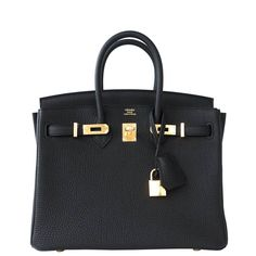 Hermes Black Mini Birkin 25cm in Togo Leather and Gold Hardware, precious and chic! $24,750