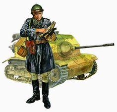 Porucznik 10. Brygady Kawalerii w kurtce skórzanej i z pistoletem przy pasie. W tle – tankietka TKS uzbrojona w najcięższy karabin maszynowy FK-A wz. 38 kal. 20 mm