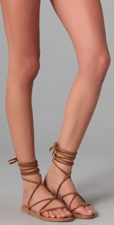ankle wrap sandles | Jacques Bikini Ankle Wrap Sandals in Brown (natural) - Lyst