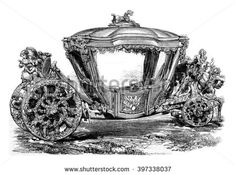 Gala car of King John IV of Portugal. Drawing Feart, after a photograph of J. Lawrence.  - stock photo