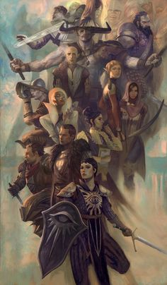 """""""Let those who would destroy us step into the light."""" Dragon Age Team by Jon Foster Limited Edition of 500 Signed by Artist Numbered Oversiz. Dragon Age Origins, Solas Dragon Age, Dragon Age 2, Dragon Age Characters, Fantasy Characters, Dragon Age Inquisition Characters, Da Inquisition, Fantasy Figures, Team Fortress 2"""