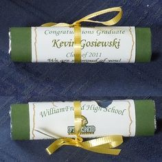 Life Saver roll with personalized wrapper to look like a diploma!  These are GREAT at High School graduation parties! $1.50 fully assembled