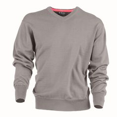 $120 MGWool in Gull with Coral-  Fine guage long sleeve high V-Neck sweater with contrast detail on inner collar.