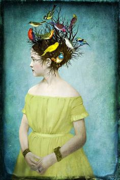 "Song Birds by Beth Conklin (digital artist). ""Alice couldn't tell if it was a wig plopped on top of the woman's head or not, but it was just about the most elaborate thing she'd ever seen. Art And Illustration, Illustrations, Art Du Collage, Art Fantaisiste, L'art Du Portrait, Portraits, Photocollage, Inspiration Art, Wow Art"