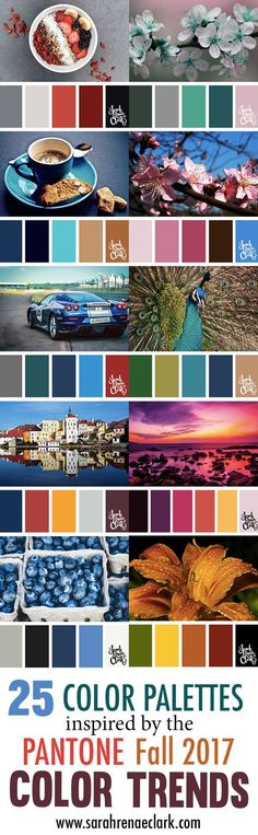 25 Color Palettes Inspired by the Pantone Fall 2017 Color Trends   See all 25 color schemes for inspiration at http://sarahrenaeclark.com