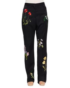 Stella McCartney Floral-Embroidered Tuxedo Trousers,  available here: rstyle.me/~7DXlh