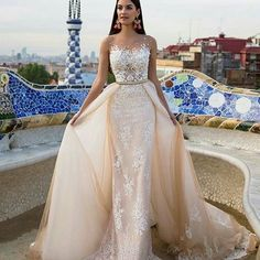 """79 Likes, 5 Comments - Bride & Groom Magazine (@brideandgroommagazine) on Instagram: """"An elegant #champagne gown with detachable train to help you go from #ceremony to #reception with…"""""""