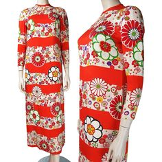 1970's Floral Printed Silk Maxi Dress from The Vintage Genie at RubyLane.com
