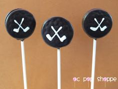 Hockey Puck Cake Pops.  Hmm I have lots of friends that would probably like these!