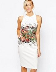 Closet Knee Length Pencil Dress with Statement Floral Print - Multi image