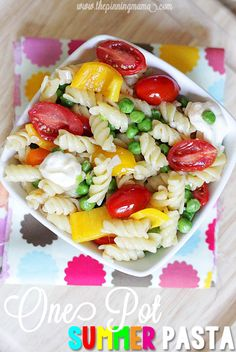 One Pot Summer Pasta- My favorite thing about this recipe is that you can serve it hot the first day and then it is also delicious cold as a quick grab and go lunch the next few days!