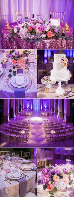 Featured Photographer: Jasmine Lee Photography; purple wedding reception and ceremony details