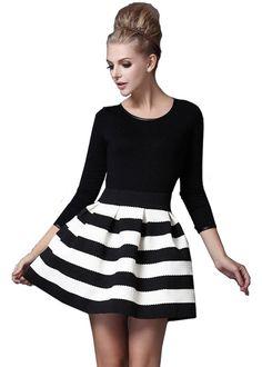 Sheinside® Damen Streifenkleid mit 3/4-Arm, schwarz/weiß: Amazon.de: Bekleidung