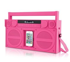 iHome FM iPod/iPhone Speaker Dock Boombox (Pink), The is a re-imagining of the classic stereo boombox with intriguing updates for your iPhone and iPod. The features SRS TruBass digital signal processing technology and 5 band EQ coupled with a. Gadgets And Gizmos, Tech Gadgets, Cool Gadgets, Amazing Gadgets, Boombox, Just In Case, Just For You, Ipod Dock, Accessoires Iphone