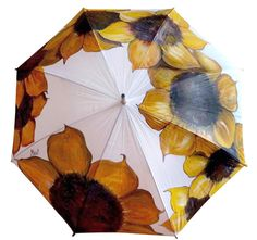 Mano pintada paraguas girasol lluvia paraguas con por Pletkata