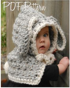 Crochet PATTERN-The Bryor Bunny Hood 6/9 month von Thevelvetacorn
