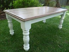 Solid Timber Off White Dining Table Distressed French Provincial Style