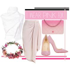 US by revinaangela on Polyvore featuring Aganovich, Zimmermann, Christian Louboutin, Chanel, Topshop, october, IWearPinkFor, nationalbreastcancerawarenessmont and nationalbreastcancer