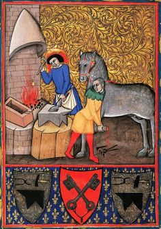 Miracle of Saint Eligius, the patron saint of blacksmiths, Coat of arms and papal coat, miniatures, Italy 16th Century.