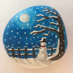Painted rock snow scene