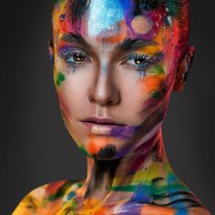 Rainbow Painting, Eye Painting, Woman Painting, Paint Photography, Portrait Photography, Maquillage Normal, Extreme Makeup, Fantasy Make Up, Art Optical