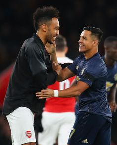 Pierre-Emerick Aubameyang of Arsenal and Alexis Sanchez of Manchester. London United, Manchester United, Alexis Sanchez, Pierre Emerick, Shake Hands, Fa Cup, Arsenal Fc, London England, Superstar