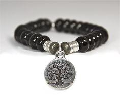 HANDMADE Onyx Semi-Precious Stone bracelet with Tree of Life charm  www.tiffanyjazell...
