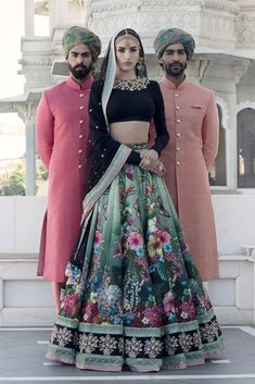 Hand painted green Sabyasachi lehenga with black full sleeves lehenga blouse. Click on picture to see Sabyasachi Lehenga cost. #Frugal2Fab