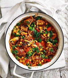 Quick-sausage-casserole-with-tomato-and-chickpeas