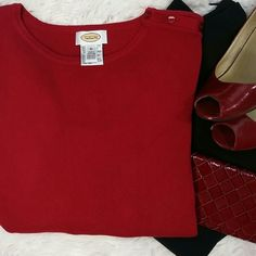 """Talbots Sweater This beautiful red sweater with 3 side buttons is really good condition. Hardly worn. 24"""" from shoulders. 45% rayon, 35% cotton, 17% nylon, 3% lycra,spandex. Cuff sleeves makes this sweater even more elegant. Great with any outfit! Talbots Sweaters Crew & Scoop Necks"""