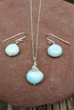 Beautiful Sky Blue Peruvian Opal Minimalist Necklace And Earring Set Sterling Silver Opal Jewelry October Birthstone by PeacefulVibesJewelry on Etsy