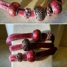 Rose pink velvet wrap/choker